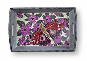 Mozaiek Dienblad Paarse Vlinder