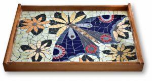 Mozaiek Dienblad Blauwe Vlinder