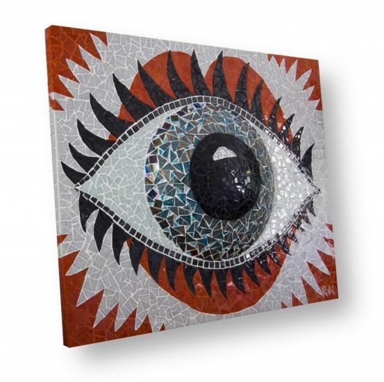 Mozaïek Schilderij Het Oog, heel leuk in de etalage van uw brillenzaak