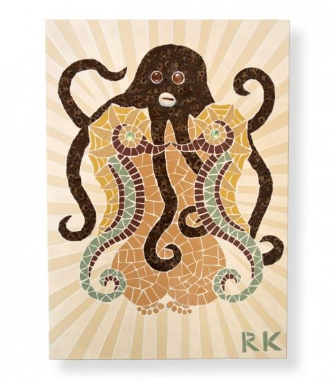 MozaïekSchilderijZeepaardjes en Octopus