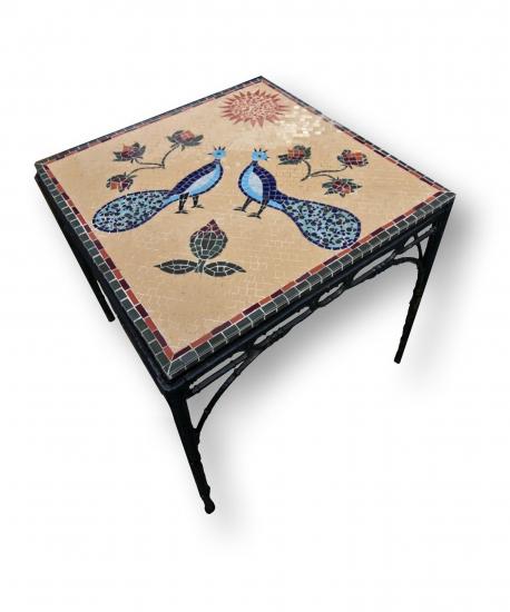 Mozaiek Tafel Pauwen